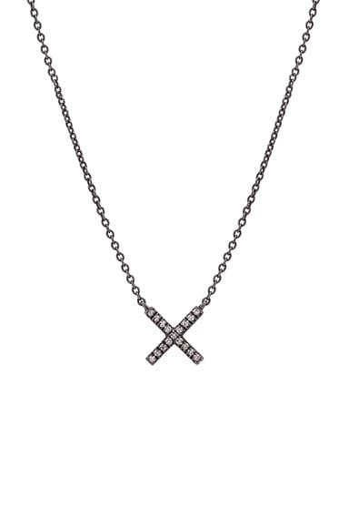 Eva Fehren Baby X Pendant in 18K Black Gold & White Diamonds
