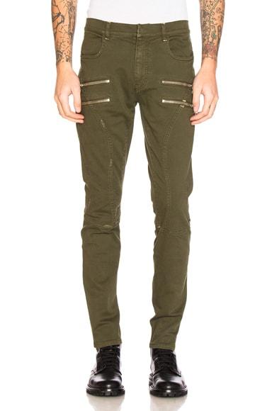 Faith Connexion Zip Run Jeans in Army Khaki