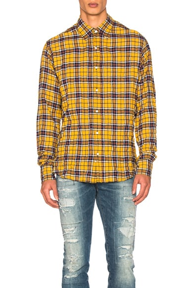 Faith Connexion Check Loose Shirt in Yellow & Blue