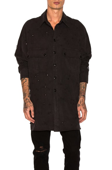 Faith Connexion Strass Twill Shirt in Black