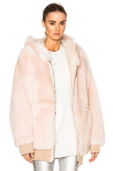 Faith Connexion Reversible Lamb Fur Oversized Jacket in Ballerine