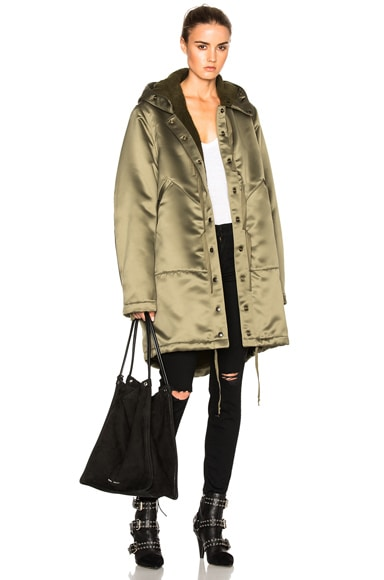 Faith Connexion Sherpa Lined Parka Jacket in Army Khaki