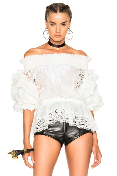 Faith Connexion Ruffle Lace Top in Off White