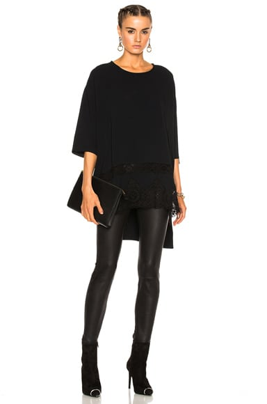 Faith Connexion Crepe Lace Top in Black