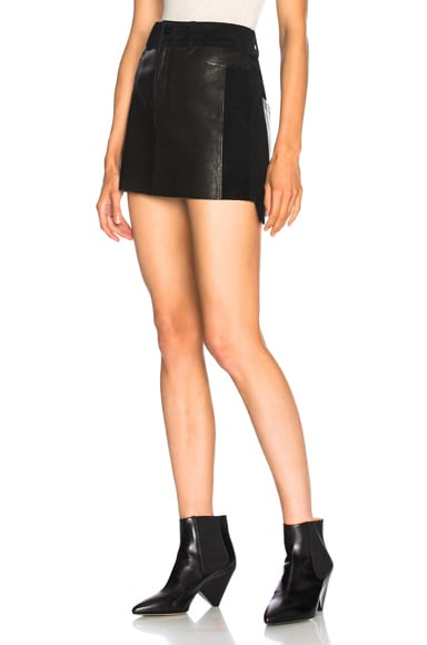 Leather and Suede Mix Skirt