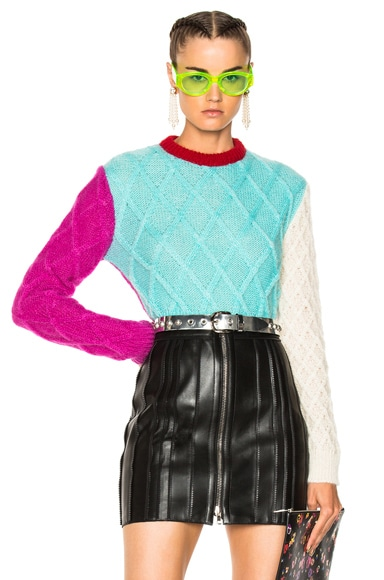 Color Block Crop Knit Sweater