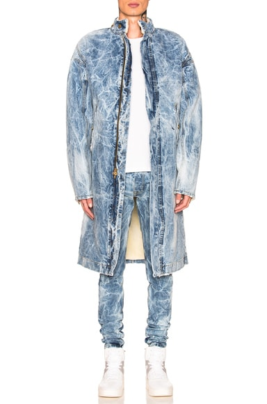 Selvedge Denim Holy Water Deckcoat With Sherpa Lining