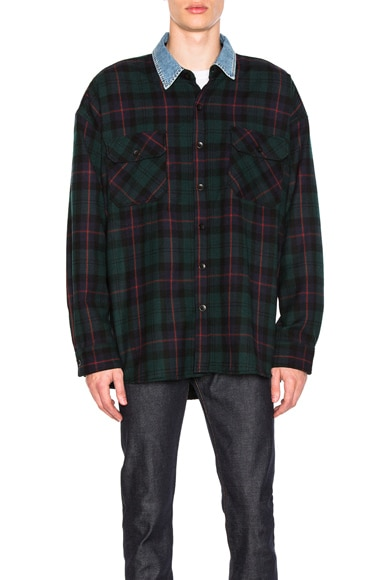 Denim Collared Oversized Flannel
