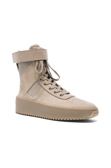 Fear of God Nubuck Leather Military Sneakers in Desert Beige