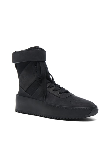 Fear of God Nubuck Leather Military Sneakers in Black