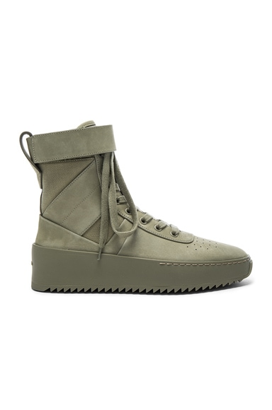 Fear of God Nubuck Leather Military Sneakers in Army Green