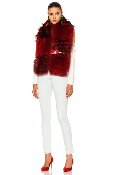 Fendi Fox Fur Stole in Red