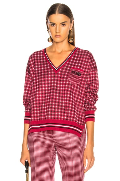 Micro Madras V-Neck Sweater