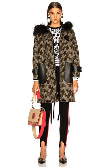 Fur Trim Logo Print Wool Coat