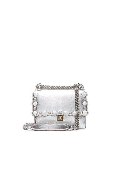 Fendi Embellished Kan l Shoulder Bag in Silver