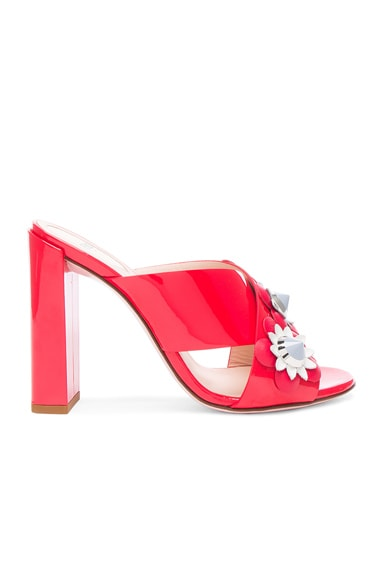 Fendi Patent Leather Crisscross Heels in Red Flowerland
