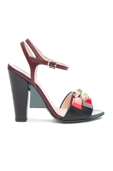 Fendi Embossed Leather Fantasia Heels in Black Multi Rainbow