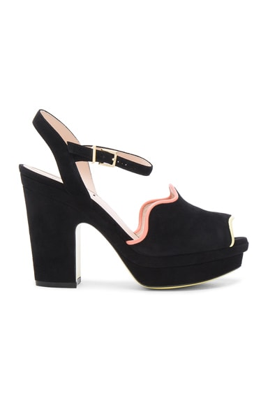 Fendi Suede Ankle Strap Heels in Black