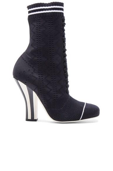 Fendi Knit Booties in Black & White