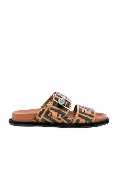 Logo Print Leather Buckle Slides