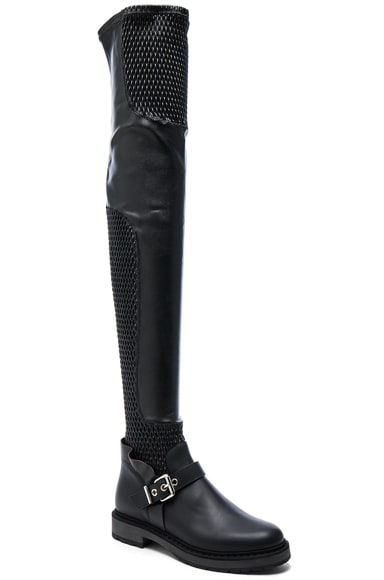Leather Motorcycle Over the Knee Boots