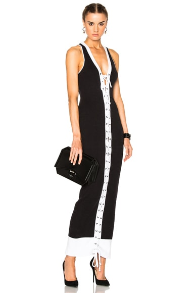 Fenty by Puma Lacing Ribbed Dress in Black & White