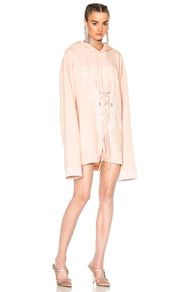 Fenty by Puma Long Sleeve Graphic Lacing Hoodie in Cameo Rose