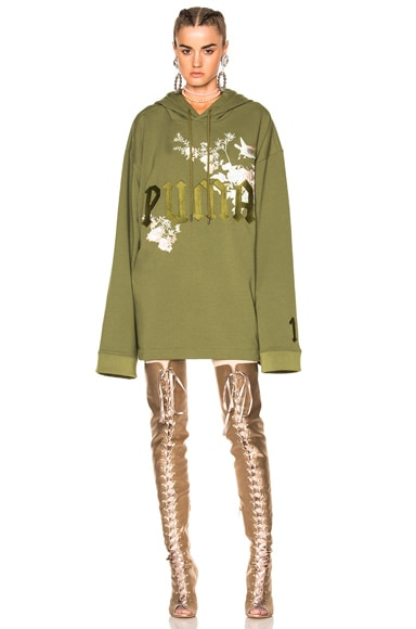 Fenty by Puma Embroidered Graphic Hoodie in Olive Branch