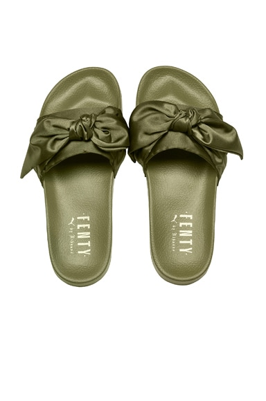 Bow Satin Slides in Olive Branch