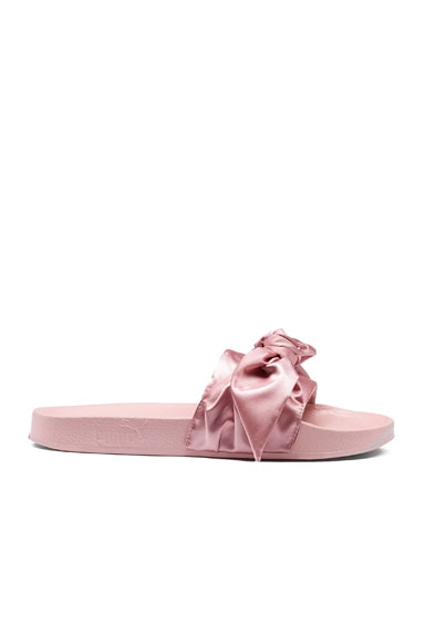 Fenty by Puma Bow Satin Slides in Silver Pink