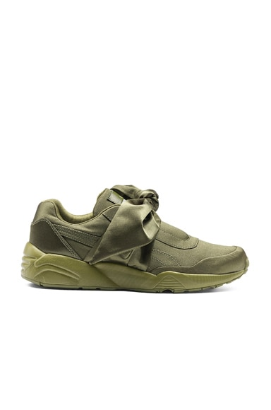 Fenty by Puma Bow Satin Sneakers in Olive Brand