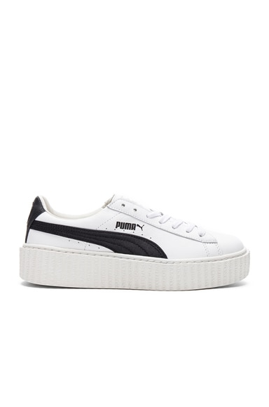 Fenty by Puma Leather Creeper Sneakers in Black & White
