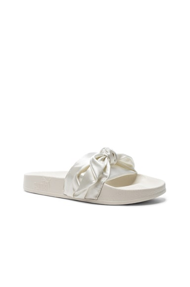 Bow Satin Slide Sandals & Silver