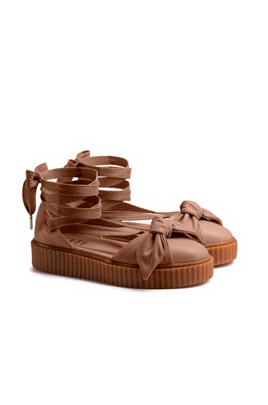 Bow Leather Creeper Sandals
