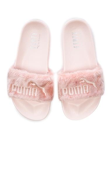 Fenty by Puma Leadcat Faux Fur Slide Sandals in Shell & Silver
