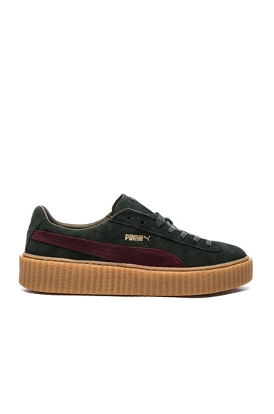 Fenty by Puma Suede Creepers in Green & Bordeaux