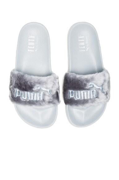 Fenty by Puma Leadcat Faux Fur Slide Sandals in Quarry & Silver