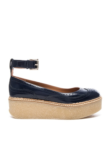 Flamingos Leather Kitty Flat in Navy & Natural