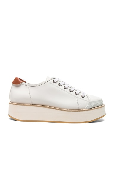 Flamingos Leather Tatum Sneakers in White & White