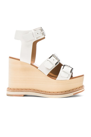 Flamingos Leather Holly Wedges in Off White, Samba, & Black