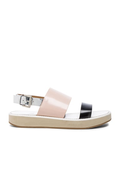 Flamingos Leather Aqualina Sandals in Black, Nude & Silver