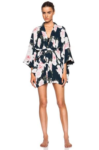 fleur du mal Silk Haori Kimono in Teal Floral