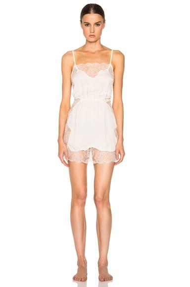 fleur du mal Rose Lace Slip Dress in Ivory
