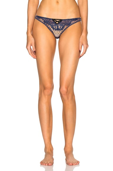 fleur du mal French Net Lace Thong in Black & Navy