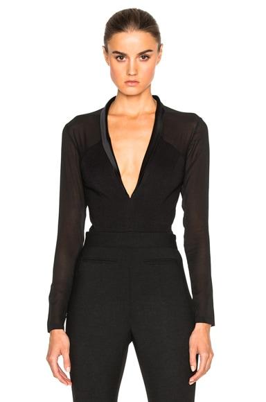 fleur du mal Tuxedo Bodysuit in Black