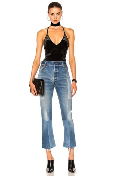 Leather Strap V-Neck Bodysuit