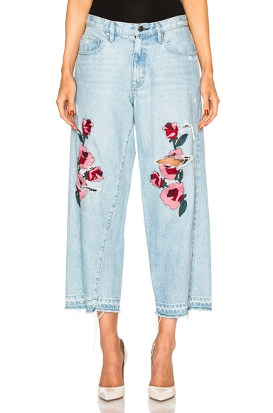 Frankie Embroidered Relaxed Crop in Medium Blue