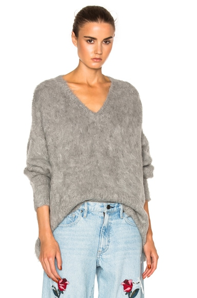Frankie Varsity Oversized V Neck Sweater in Grey