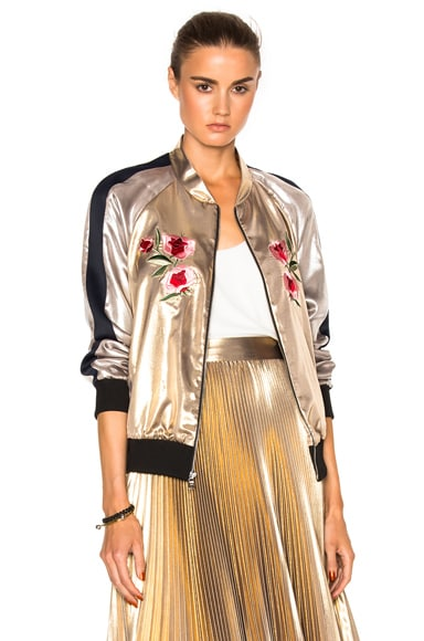 Frankie Embroidered Bomber Jacket in Light Gold