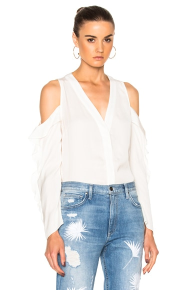 Cold Shoulder Button Down Top